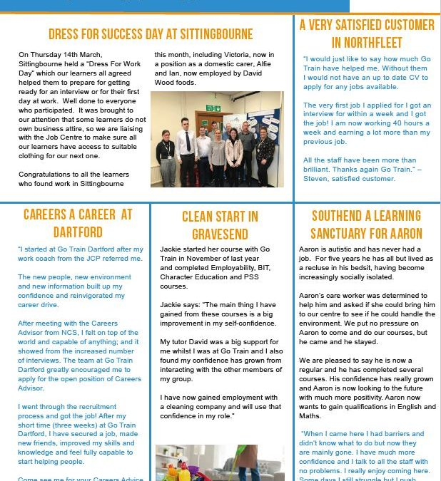 GO TRAIN LEARNER SUCCESS NEWSLETTER MARCH 2019